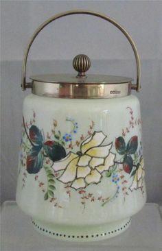 Victorian Bristol Cracker Barrel Jar Enamel Flowers Floral Silver Plate Collar