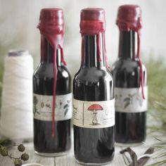 Homemade vanilla extract in wax-sealed bottles.