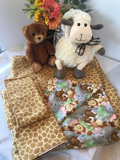 Baby aniamal recieving blanket with burp cloth
