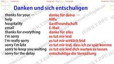 Danken und sich entschuldigen auf Deutsch