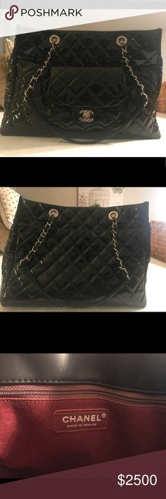 Black patent Chanel multi pocket shoulder bag. Black patent Chanel multi pocket should bag. Chain link double strap. Outer pocket. Inner zip pocket. 6 pockets inside. Burgundy liner. No stains. Large size. CHANEL Bags Shoulder Bags
