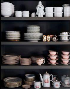 black shelves kitchen