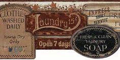 Antique Laundry Room Signs Border | Wallpaper & Border - Wallpaper & Border | Wallpaper-inc.com