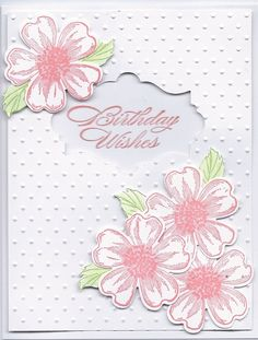 SU flower shop stamp set, SU Pansy punch, SU Bring on the cake stamp set, SU Apothecary Accents Die Cut set, Cuttlebug Swiss Dots embossing folder Birthday Cards For Women, Handmade Birthday Cards, Happy Birthday Cards, Making Greeting Cards, Greeting Cards Handmade, Bday Cards, Embossed Cards, Stamping Up Cards, Card Patterns