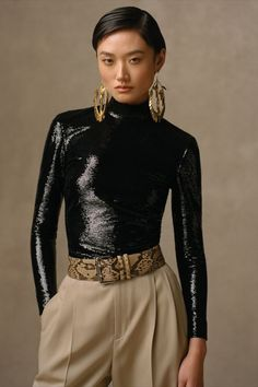 Masterfully crafted in Italy, our Jada Embellished Stretch Tulle Blouse dances with layered sequins—all embellished on stretch tulle. Explore more silhouettes from Collection Pre-Fall 2021. New Fashion, Runway Fashion, Fashion News, Autumn Fashion, Womens Fashion, Fall Fashion Week, Ralph Lauren Style, Ralph Lauren Collection, Fashion Show Collection