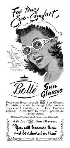 Bolle Sunglasses 1950 advertisement