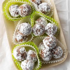 Coconut Rum Balls Recipe -My mom has made rum balls for as long as I can remember. They look beautiful on a dessert spread and can be packaged in a decorative tin as a gift. I swapped coconut rum for the traditional rum and added shredded coconut. —Jana Walker, Macomb, Michigan Rum Recipes, Cookie Recipes, Cookie Desserts, Fun Desserts, Dessert Recipes, Vintage Cookies, Rum Balls, Snowball Cookies, Coconut Rum