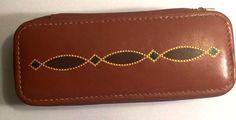 Vtg Men's Mid Century HICKOK Leather Cowhide Travel Case Toiletries Shaving Kit