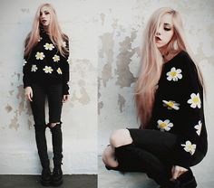 Choies Daisies Sweater, Ripped Pants, Made By Me Spiked Choker