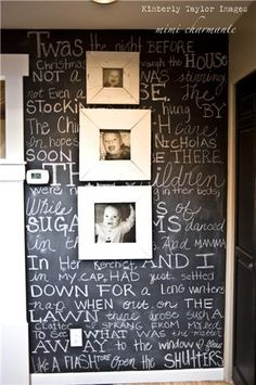 I like the idea of a chalkboard with artwork hanging over it.