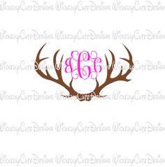 Antlers Monogram Frame SVG, DXF, EPS, PNG Digital File – Wickedly Cute Designs