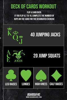 This deck of cards workout is a fun and effective full body workout you can do at home or at the gym. All exercises require no equipment and use bodyweight only. Super fun way to spice up your workout and can be played with a partner or group! Body Workout At Home, Workout For Flat Stomach, At Home Workout Plan, At Home Workouts, Fitness Games For Kids, Exercise For Kids, Kids Fitness, Group Fitness, Workout Memes