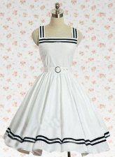 White Sleeveless Cotton School Lolita Dress