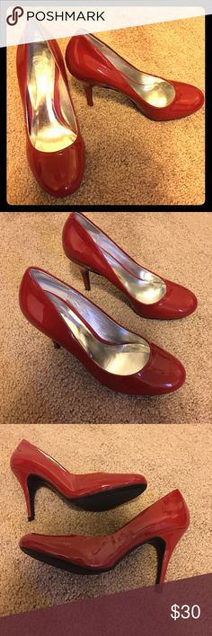 Jessica Simpson, Fall Red Heel, Size 8 1/2 Wide Barely used, very good condition! Patent Leather Upper High Heel Jessica Simpson Shoes Heels