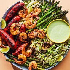 91 Spring Grilling Recipes We Love - Epicurious Grilled Shrimp Recipes, Grilled Seafood, Shrimp Recipes Easy, Seafood Recipes, Mexican Food Recipes, Dinner Recipes, Cooking Recipes, Ethnic Recipes, Epicurious Recipes