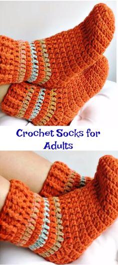 Crochet Socks for Adults - Stricken Easy Crochet Patterns, Crochet Stitches, Free Crochet, Knit Crochet, Hat Patterns, Easy Crochet Socks, Crochet Socks Pattern, Hat Crafts, Crochet Crafts