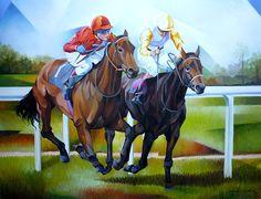 Corrida de Cavalo (80x100) - Damião Martins