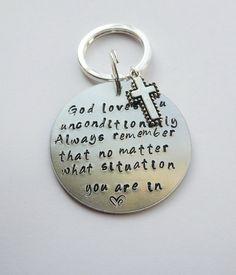 Custom key chain God loves you unconditionally key by DIVINEandZOE