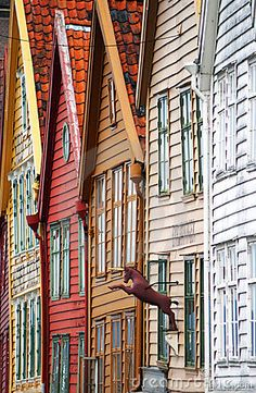 Characteristic wooden houses near the port of Bergen, Norway. Colourful facades.BEAUTY OF NORWAY COLLECTION »