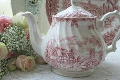 red transferware teapot