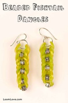 How to Make Rainbow Loom Beaded Fishtail Dangles Rainbow Loom Earrings, Rainbow Loom Purse, Rainbow Loom Charms, Rainbow Loom Bracelets, Rainbow Loom Tutorials, Rainbow Loom Patterns, Loom Band Bracelets, Loom Bands, Diy Crafts For Gifts