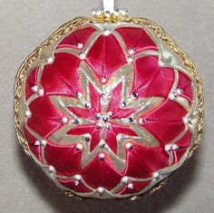 OOAK Handmade Quilt/Quilted Ball Christmas Ornament