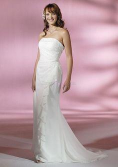 White Sleeveless Long/Floor-length Garden/Outdoor Chiffon Wedding Dresses With Sweep/Brush Train WD28BE