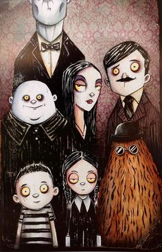 xombiedirge:  The Addams & The Munsters by Christopher Uminga / Blog / Tumblr