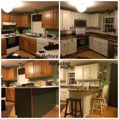 Kitchen Cabinet Refacing Before And After Pictures.