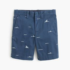 Embroidered with sharks and waves, these shorts are the perfectly preppy piece his closet has been missing. Each pair is washed for over 300 minutes for a broken-in feel that can't be beat—and guarantees he'll be comfortable all day long. <ul><li>Cotton.</li><li>Internal adjustable elastic waistband.</li><li>Belt loops.</li><li>Zip fly.</li><li>Sizes 2-7 have faux button with easy-slide hook-and-bar closure; sizes 8-16 have button closure.</li><li>Slant pockets, back welt…