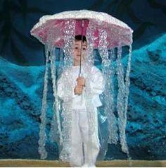 jelly fish costume - umbrella, bubble wrap AND white plastic bags cut into strips