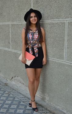 outfit, ootd, fashion, blog, strappy heels, skirt, fedora hat, aztec print, http://blogalinapop.wordpress.com/