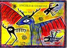 angels & demons e9Art ACEO Outsider Art Brut Raw Surrealism Collage Painting  #OutsiderArt