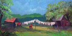 Washing Clothes Rural Oil Painting Giclee Limited Edition prints
