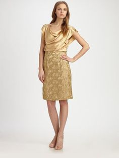 Kay Unger Silk Lace Dress