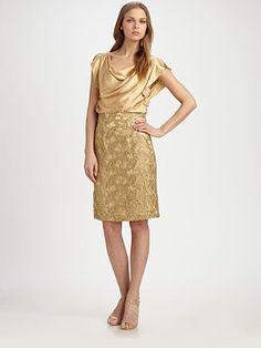 Kay Unger Silk Lace Dress