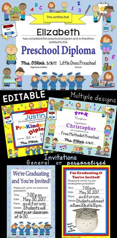 Preschool, Pre-K, & Pre-Kindergarten Diplomas & Graduation Invitations EDITABLE -  Includes 3 different designs, general and personalized graduation invitations, color and no color backgrounds. All text fields on the diplomas, certificates, and graduation invitations can be edited - change, move, add, or delete text fields