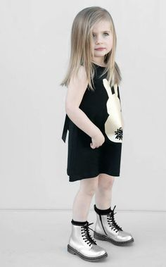 Black print dress with gold boots | #kidstylin