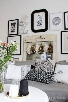 wilder Blumenstrauß im Wohnzimmer im Vintage-Boho-Look | Wohnzimmer ...