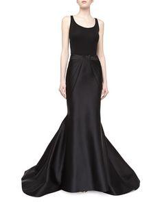 Long+Duchess+Mermaid+Skirt,+Black+by+Zac+Posen+at+Neiman+Marcus.