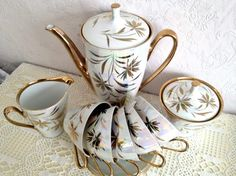 Stunning Gold and Opalescent Cmielow Vintage Teaset. £40.00, via Etsy.