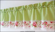 Vorhänge - Rosen♥Landhausgardine♥Karo♥STICKEREISPITZE♥grün - ein Designerstück von rosenstuebchen bei DaWanda