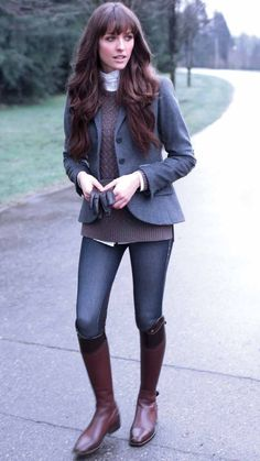 Equestrian style that shows your horse-loving side outside of the show ring. This casual look is simple and comfortable. Preppy Outfits, Mode Outfits, Fashion Outfits, Equestrian Outfits, Equestrian Style, Equestrian Fashion, Mode Style Anglais, Fall Winter Outfits, Vintage Clothing