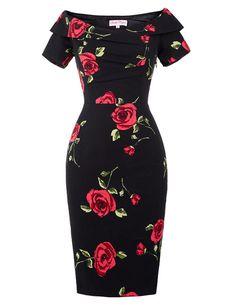 Women Clothing Rose Summer Elegant 1950s Rockabilly Dress Retro Vintage Off Shoulder Ruched Party Bodycon Sheath Wiggle Dress