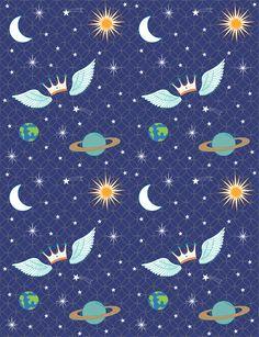 Estampa têxtil 'Universo' para marca infantil Bem Contado, por Ana Isa Zanesco