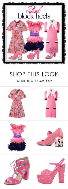"""""""Step Up: Block Heels    ---Pink Heels"""" by kareng-357 ❤ liked on Polyvore featuring Gucci, Moschino, Prada, Circus by Sam Edelman and Jeremy Scott"""