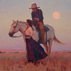 In the Warmth of the Setting Sun by Glenn Dean, 20 x 20 Art And Illustration, Illustrations, Illustration Fashion, Kunst Inspo, Art Inspo, Western Landscape, Estilo Anime, Cowboy Art, Guache