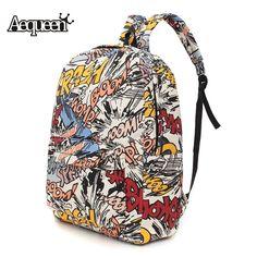 Hippie Canvas Backpacks Student School Bag Graffiti Backpack Cartoon Print Rucksack Travel Pack Laptop Graffiti Bolsa Mochila