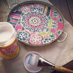 #diy #modpodge #bohemian-inspired #trays. created by Patti Borrelli #stylist for Young America.