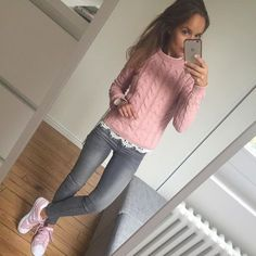 Shoes jeans different sweater